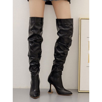 Black Over The Knee Boots Leather Pointed Toe High Heel Slouch Boots Thigh High Boots Cheap #10720921906