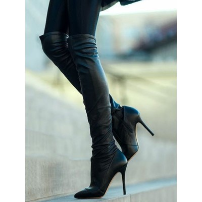 Black Over The Knee Boots Womens Nubuck Solid Color Pointed Toe Stiletto Heel Boots Number 1 Selling #10720745494
