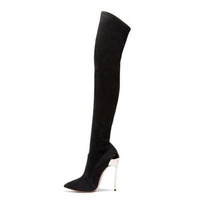 Black Thigh High Boots Womens Elastic Fabric Pointed Toe Stiletto Heel Over The Knee Boots Trending #10720801980