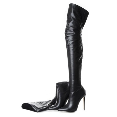 Black Thigh High Boots Womens Pointed Toe Stiletto Heel Over The Knee Boots Trend #10720748892