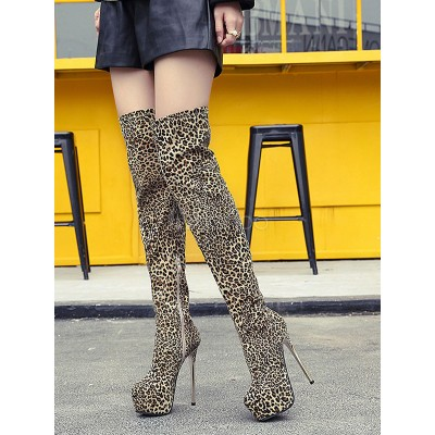 Brown Sexy Boots Women Platform Leopard High Heel Thigh High Boots Suede Over The Knee Boots Latest Fashion #10720813216