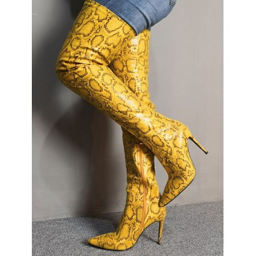 Over The Knee Boots Womens Yellow Snake Print Pointed Toe Stiletto Heel Thigh High Boots Lowest Price #10720885492