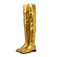 Women's Flat Metallic Square Toe Over The Knee Boots in Gold shop online #10720961542