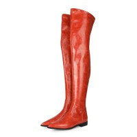 Womens Over The Knee Boots Orange Red PU Leather Pointed Toe Flat Heel Boots #10720933320