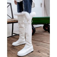 Women's Over The Knee Boots White Leather Round Toe Wedge Heel #10720923704