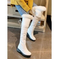 Women's Over The Knee Boots White Round Toe Wedge Heel Number 1 Selling #10720923700