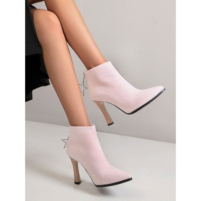 Ankle Boots Pink Micro Suede Upper Pointed Toe Chunky Heel Booties For Women #10690922664
