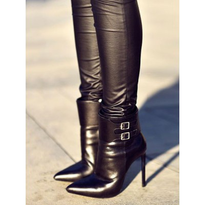 Black Ankle Boots Women Pointed Toe Buckle Detail High Heel Booties On Line #10690829852