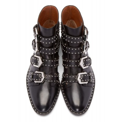 Black Motorcycle Boots Cowhide Studded Buckles Round Toe Ankle Boots Selling Well #10690653657
