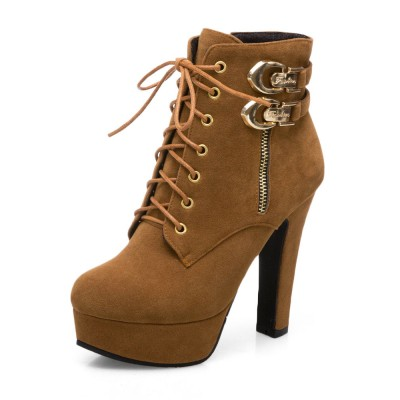 Brown Ankle Boots Suede Platform Buckle Detail Lace Up High Heel Boots Comfort #10690808338