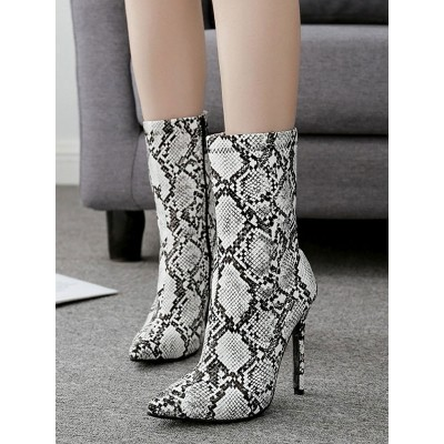 Grey Ankle Boots Women Pointed Toe Snake Pattern High Heel Booties on sale online #10690809018