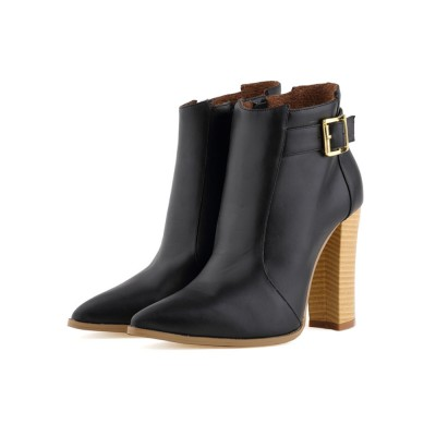 High Heel Booties Black Pointed Toe Buckle Detail Ankle Boots For Women Ships Free #10690708824