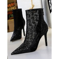 Women Ankle Boots Black Lace Pointed Toe Sequins Stiletto Heel High Heel Booties #10690921726