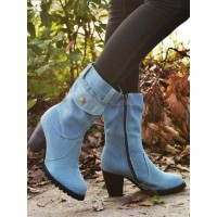 Women Ankle Boots Light Sky Blue Canvas Round Toe Chunky Heel Booties Hot #10690930196