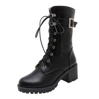 Women Marten Boots Mahogany Buckle Lace Up 2.4