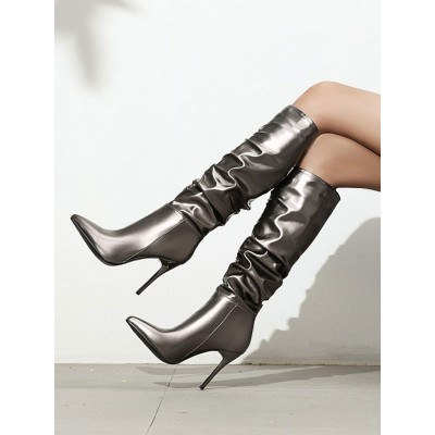 Deep Grey Knee-High Boots For Women PU Upper Pointed Toe Stiletto Heel Boots #10710929192