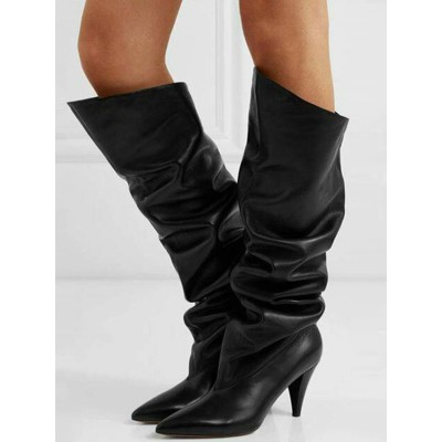 Knee High Boots Black Leather Pointed Toe Chunky Heel Slouch Boots For Women #10710916650