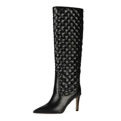 Knee High Boots Black Leather Pointed Toe Stiletto Heel Woman Knee Length Boots for sale near me #10710916472