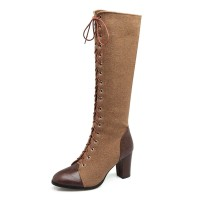 Knee High Boots Womens and Micro Suede Lace Up Round Toe Chunky Heel Boots #10710735258