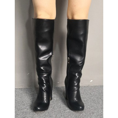 Knee High Boots Womens Black Round Toe Chunky Heel Daily Casual Boots quality #10710893828