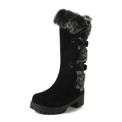 Black Winter Boots Suede Round Toe Fur Detail Chunky Heel Mid Calf Boots #10700812764