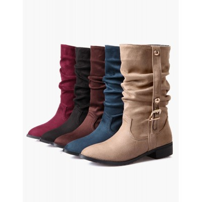 Buckle Pointed Toe Micro Suede Mid Calf Boots #10700541397