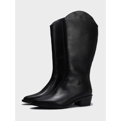 Mid Calf Boots Black Leather Pointed Toe Zipper 1.8