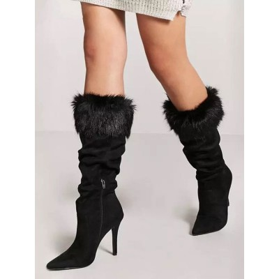 Mid Calf Boots Black Pointed Toe Faux Leather Detail High Heel Boots fashion guide #10700916648