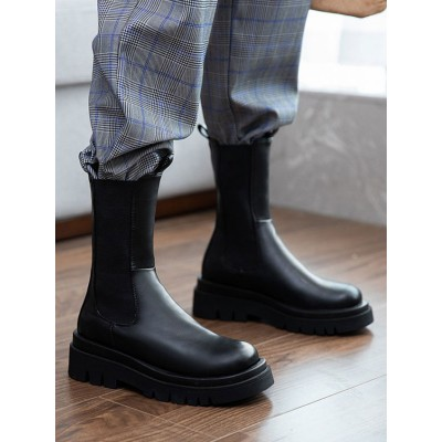 Mid Calf Boots For Women Black Leather Round Toe Flatforms Women's Ankle Boots wholesale #10700914406