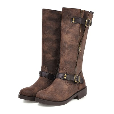 Mid Calf Boots For Women Distressed Leather Round Toe Flat Boots fashion guide #10700880204