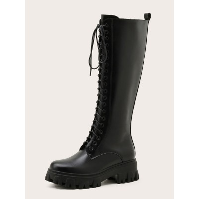 Mid Calf Boots For Women PU Leather Round Toe Zipper Black Martin Boots outlet #10700967452