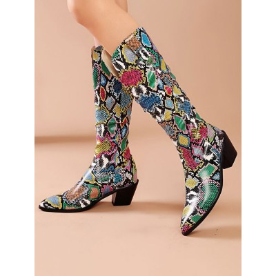 Mid Calf Boots Green Pointed Toe Leather Chunky Boots Cost #10700924578