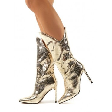 Mid Calf Boots Light Gold Pointed Toe Boots Leather Party Boots Prom Boots #10700916210