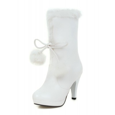 White Xmas Winter Boots Fur Top High Heel Platform Boots Or Sale Near Me #10700650099