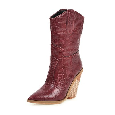 Woman Mid Calf Boots Crocodile Cowboy Boots Pointed Toe 3.9