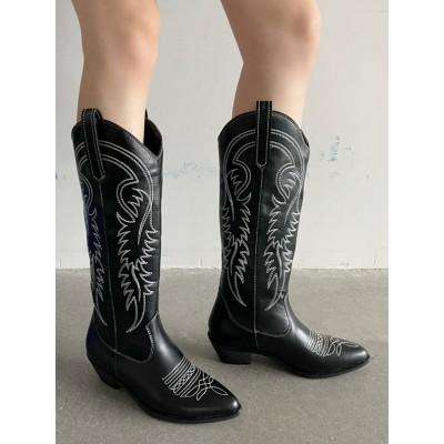 Women Boot Pointed Toe Chunky Heel PU Leather Black Cowboy Boots Mid Calf Boots shopping #10700967350