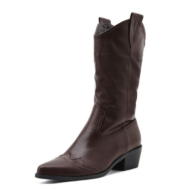 Women Mid Calf Boot Chunky Heel Pointed Toe Brown Martin Boots shopping #10700967422