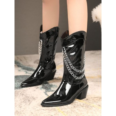 Women Mid Calf Boots Black Pointed Toe Leather Chain Detail Zip Up Wide Calf Boots guide #10700919206