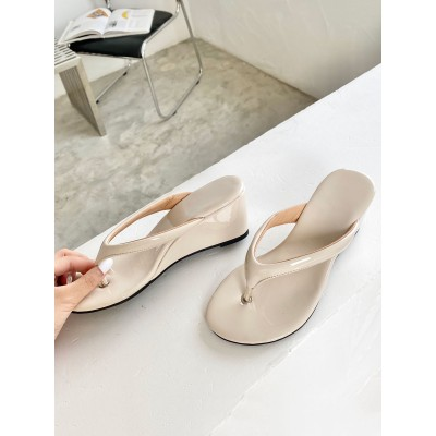 Flip Flop For Women Apricot Open Toe Wedge Heel Patent PU Slippers outlet #11100952356