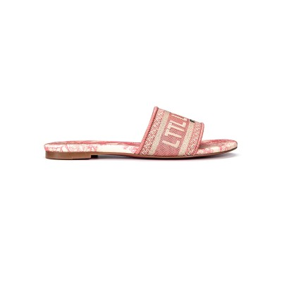 Pink Slipper Flat Heel Round Toe Slip-On Artwork Pattern Canvas Casual Slippers hot topic #11100948186