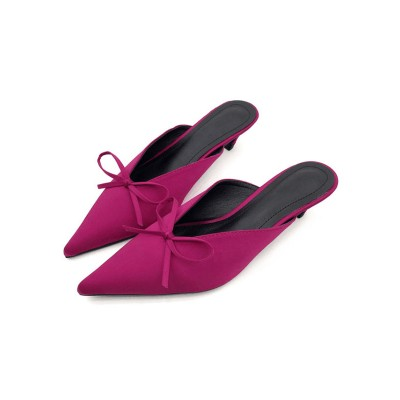 Fuchsia Mules Shoes Pointed Toe Bow Kitten Heel Backless Women's Slip On Shoes Trend #06200707454