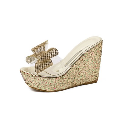 Golden Wedge Shoes Women's Peep Toe Bow Decor Transparent Upper Sandal Slippers most comfortable #32760664963