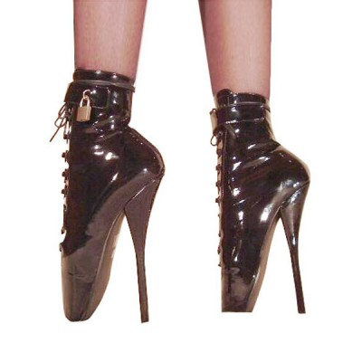 Black High Heel Boots Women Patent Leather Lace Up Sexy Ballet Boots Fashion #12410066990