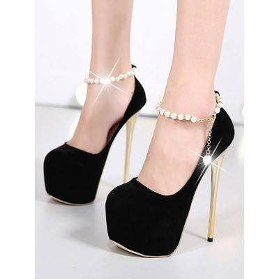 Black High Heels Suede Platform Almond Pearls Ankle Strap Pumps Women Sexy Shoes #12390823226