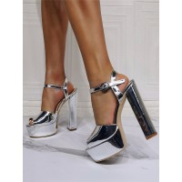 Sexy Sandals For Woman Silver PU Leather Open Toe Chunky Heel Sky High Heel Sandals Fitted #12400955068