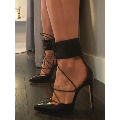Black Stiletto High Heels Lace Up Heel Pointed Toe Ankle wrapped Pumps Lowest Price #23600758912