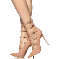 Nude High Heels Women Pointed Toe Buckle Detail Strappy Pumps The Most Popular #23600829822
