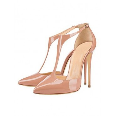 Nude T Strap High Heels Pointed Toe Stiletto Heel Pumps Party Shoes for Women #23600802656