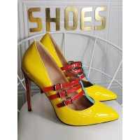 Plus Size High Heels For Women Pointed Toe Stiletto Heel Fashion Patent PU Yellow Mary Jane Heels Casual #23600939672