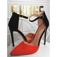 Plus Size Pumps Pointed Toe Stiletto Heel Micro Suede Fashion Black Ankle Strap Heels Fit #23600939156